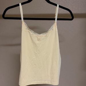 Yellow camisole top with lace detail